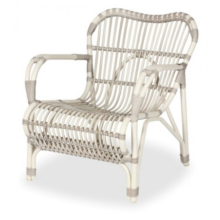 Vincent Sheppard Lucy White Wicker Outdoor Chaise Longue with Optional Footrest