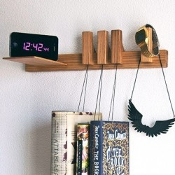 Right Nightstand Hanging Book Rack - Oak