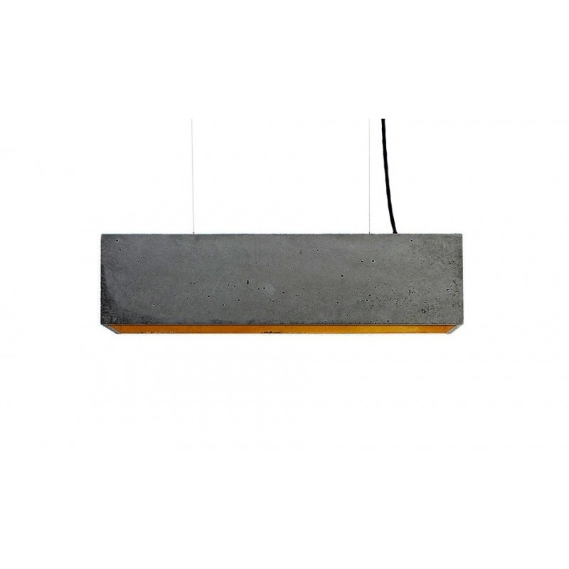 B4 Dark Grey Concrete & Gold Leaf Pendant Lamp