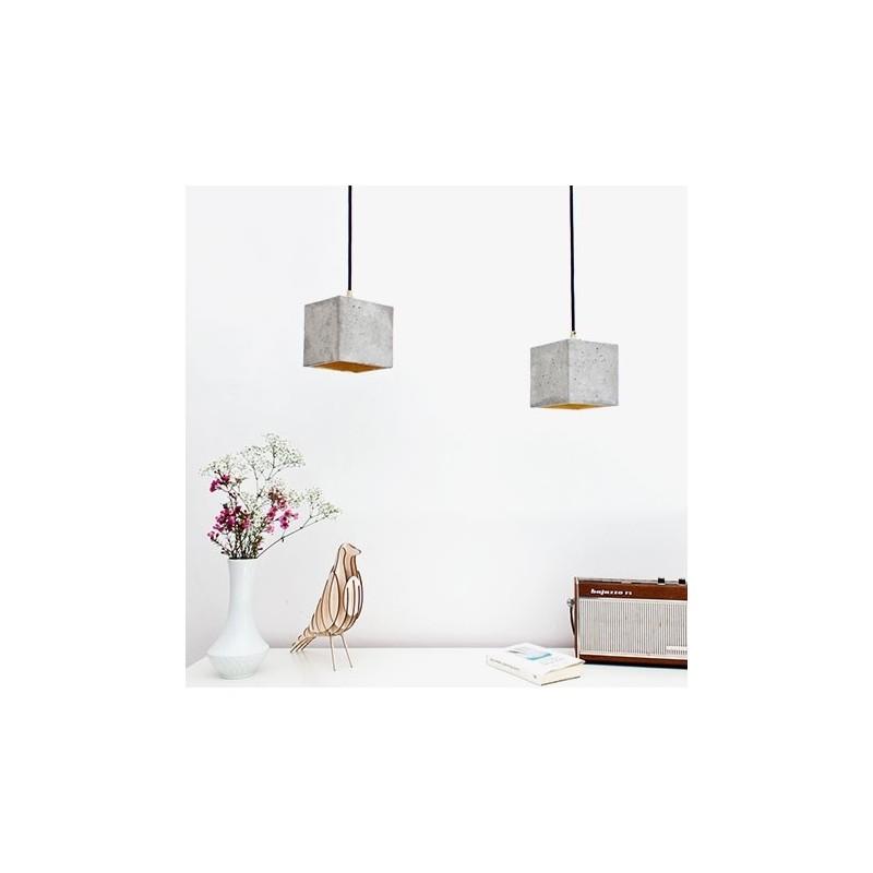 B1 Light Grey Concrete & Gold Leaf Pendant Lamp