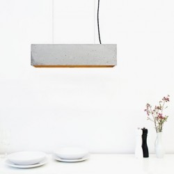 B4 Light Grey Concrete & Gold Leaf Pendant Lamp