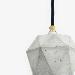 T2 Light Grey Concrete & Gold Plated Pendant Lamp