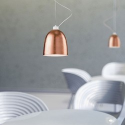 Awa Copper Leaf Mouth Blown Opal Glass Pendant Lamp