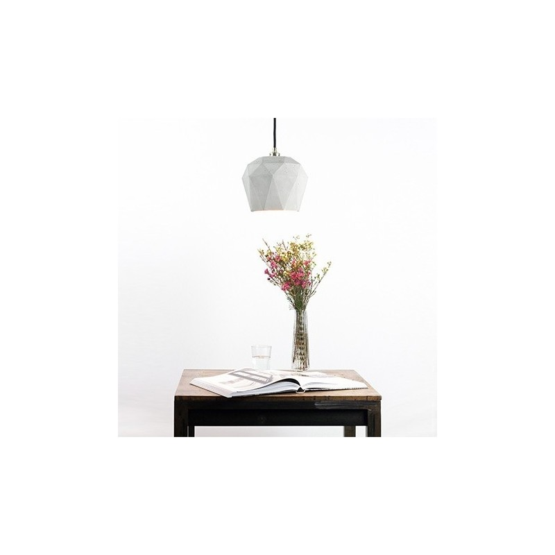 T3 Light Grey & Gold Leaf Hanging Lamp