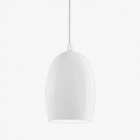Ume Mouth Blown White Opal Glass Hanging Lamp - 26 Dia