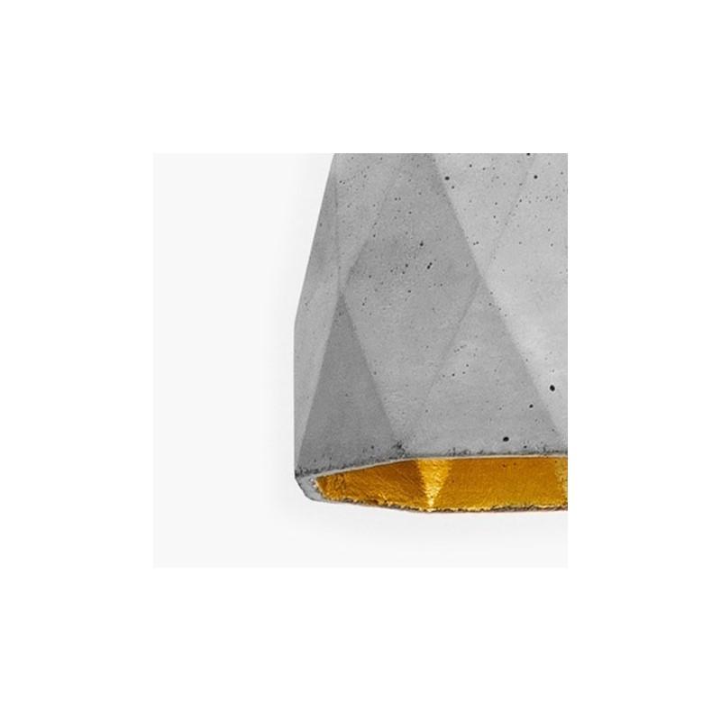 T1 Concrete & Gold Leaf Pendant Lamp - Light Grey