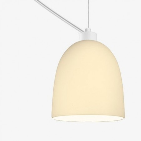 Soto Luce Awa Mouth Blown White Opal Glass Hanging Lamp