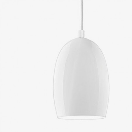 Ume Mouth Blown White Opal Hanging Lamp - 13.5 Dia