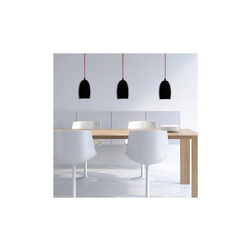 Ume Mouth Blown Opal Glass Hanging Lamp - Black / Red