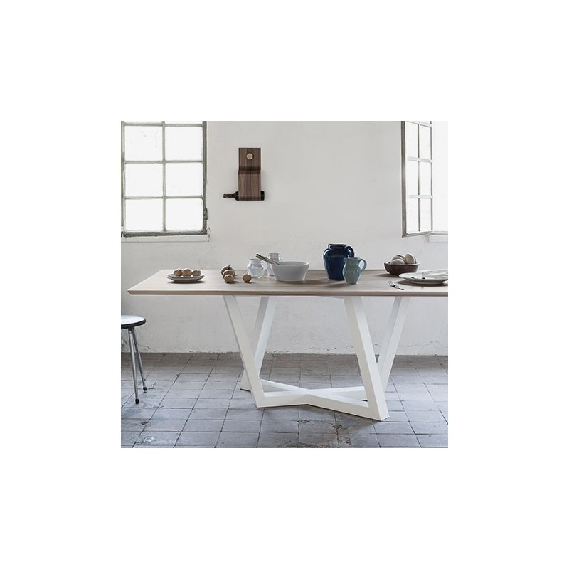 Dedalo Elm and Beech White Dining Table