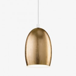 Ume Mouth Blown Glass Hanging Lamp - Gold Leaf