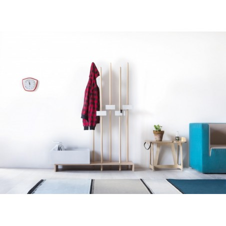 Stan Oiled Beech Coat Rack - Beech / White