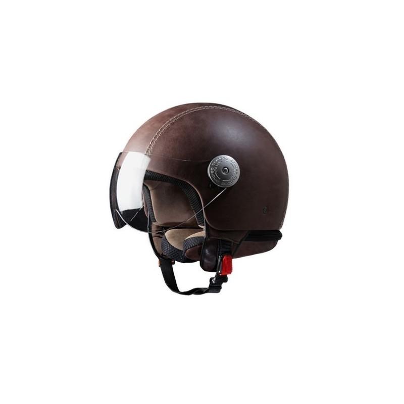 Italian Vintage Brown Leather Crash Helmet
