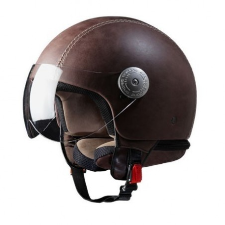 Italian Vintage Brown Leather Crash Helmet