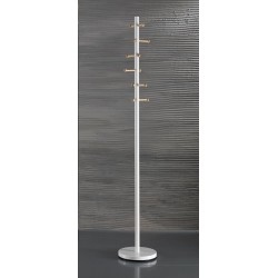 Laconi White Metal and Wood Coat Stand
