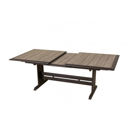 Brown Aluminium Extending Outdoor Dining Table