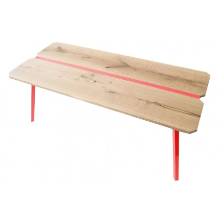 Ubikubi MyWay Oak and Red Metal Dining Table