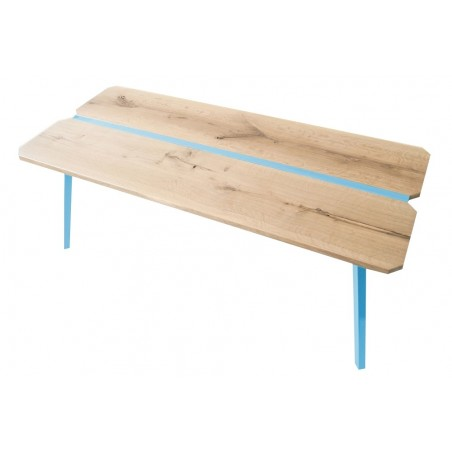 Ubikubi MyWay Oak and Turquoise Metal Dining Table