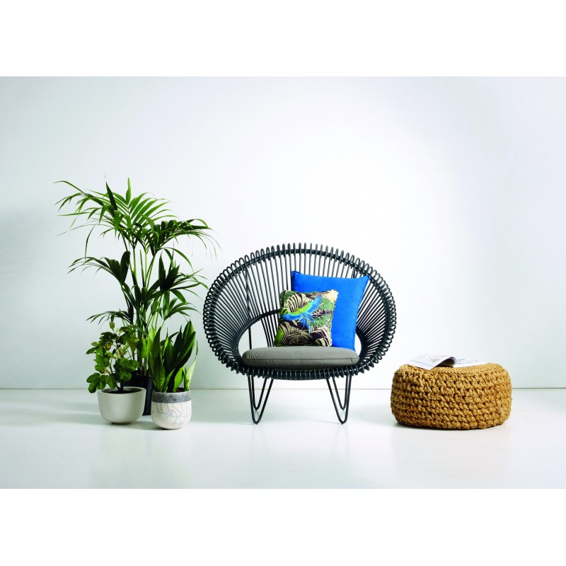 Vincent Sheppard Roy Cocoon Garden Chair Black with Cushion