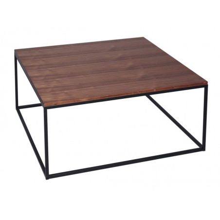 Square Coffee Table - Kensal WALNUT with BLACK base