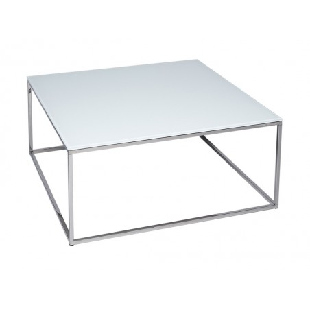 Square Coffee Table - Kensal WHITE with POLISHED base
