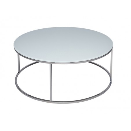 Kensal Circular Coffee Table - White Glass Top