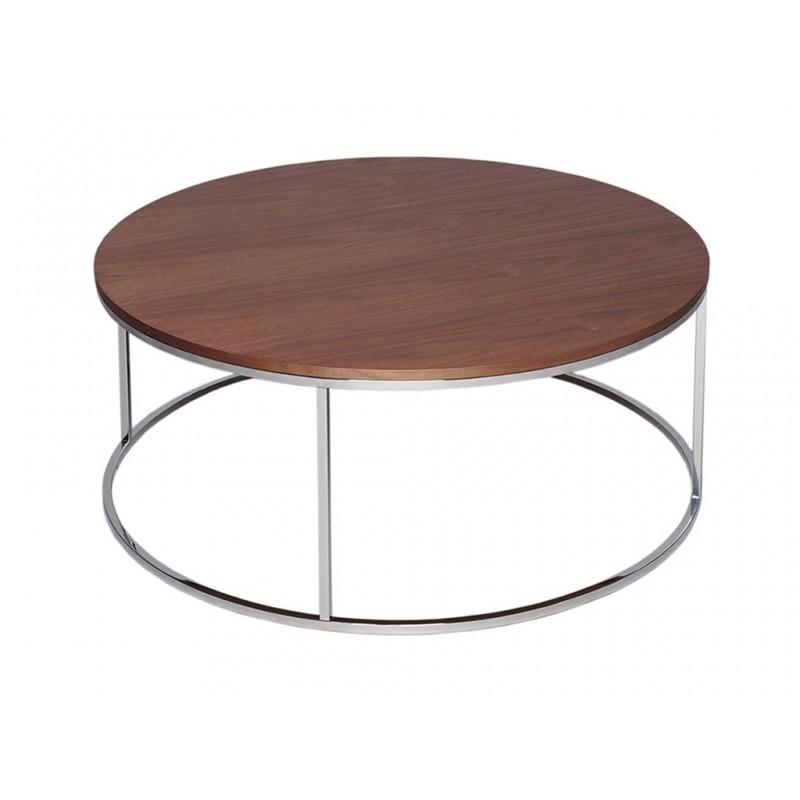 Kensal Circular Coffee Table - with Walnut Top