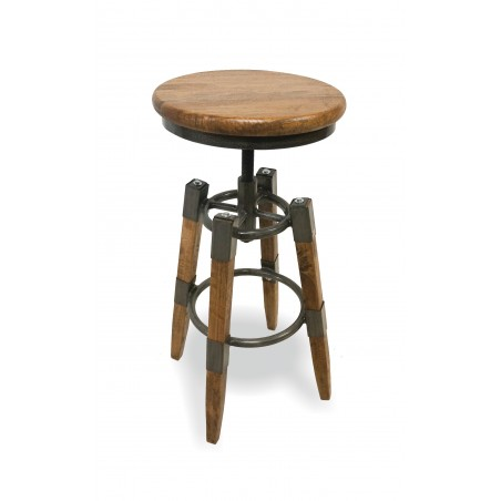 Lagoon Wood & Metal Square leg Swivel Stool