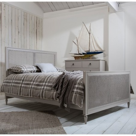 Weathered Cane King Size Bed in Soft Grey