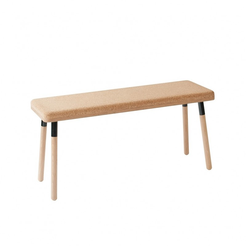 Ubikubi Marco Beech and Black Metal Dining Bench