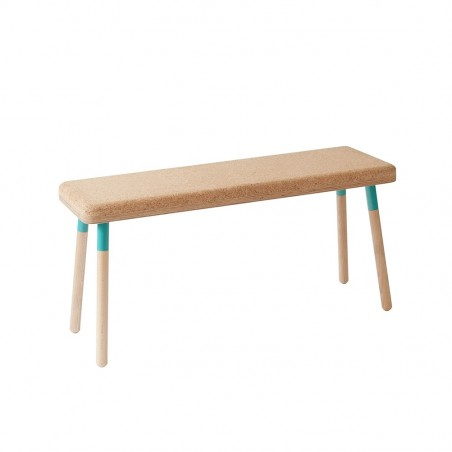 Ubikubi Marco Turquoise Steel and Beech Bench