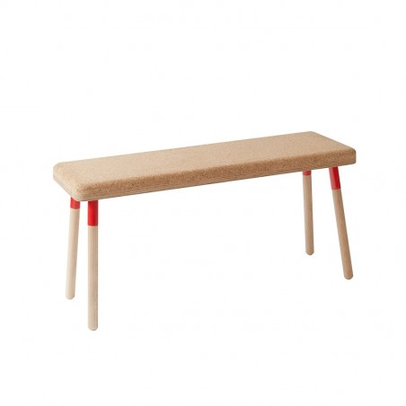 Ubikubi Marco Beech and Red Steel Dining Bench