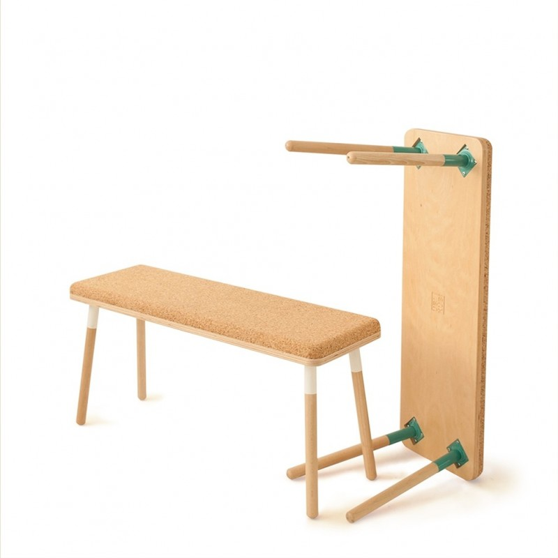 Ubikubi Marco Beech Cork and Blue Steel Bench