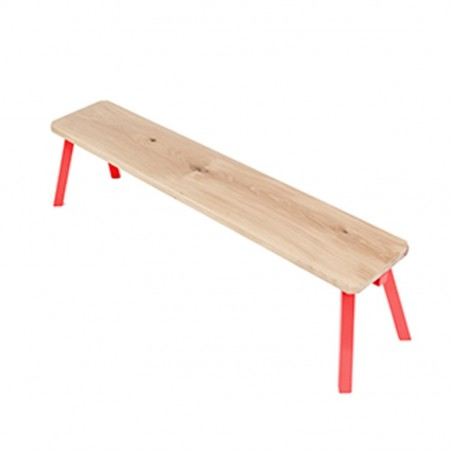 Ubikubi MyWay Red Oak and Metal Bench
