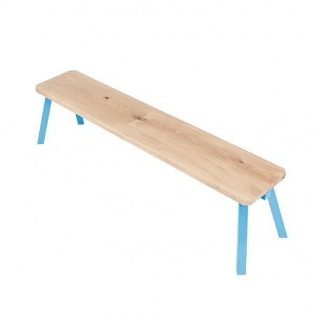 Ubikubi MyWay Oak Wood Blue Metal Bench