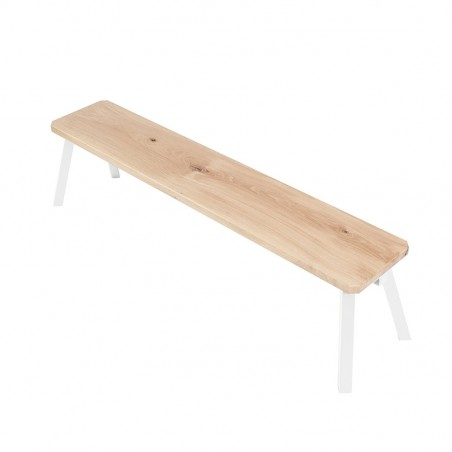 Ubikubi MyWay Oak Wood and White Metal Bench