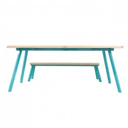 Ubikubi MyWay Oak Wood and White Metal Bench