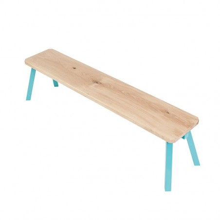 Ubikubi MyWay Oak Wood and Turquoise Metal Bench