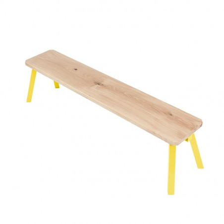 Ubikubi MyWay Oak Wood and Yellow Metal Bench
