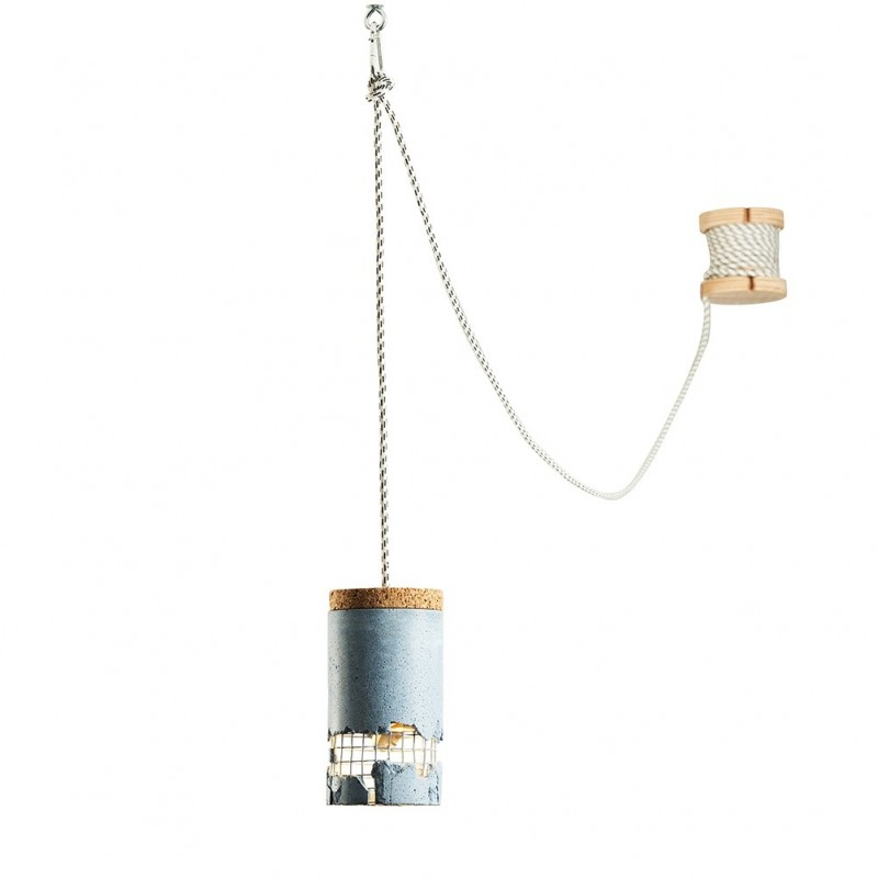 Ubikubi Slash Concrete Pendant Light - White