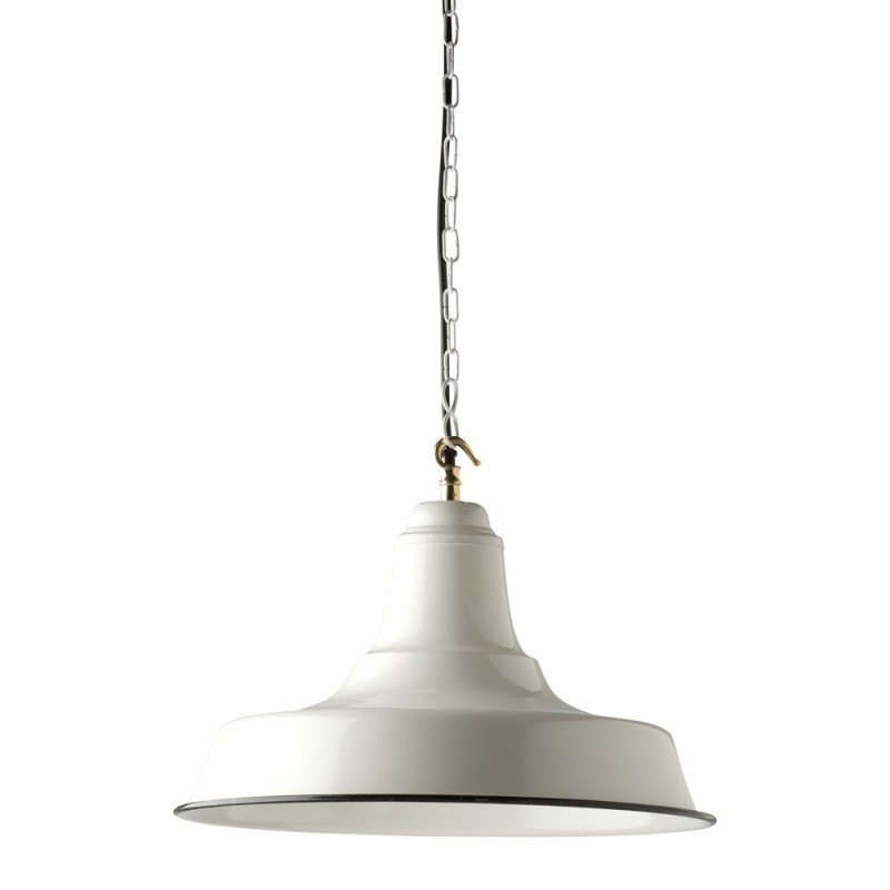 Industrial Pendant Light in Old White