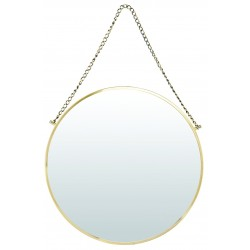 House Doctor Bonlina Circular Mirror on a Chain - Brass Finish