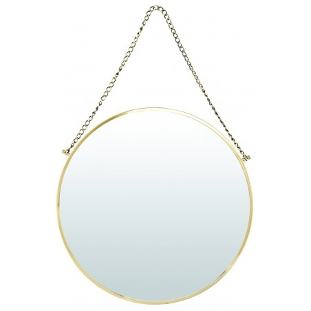 House Doctor Bonlina Circular Mirror on a Chain - Brass Finish