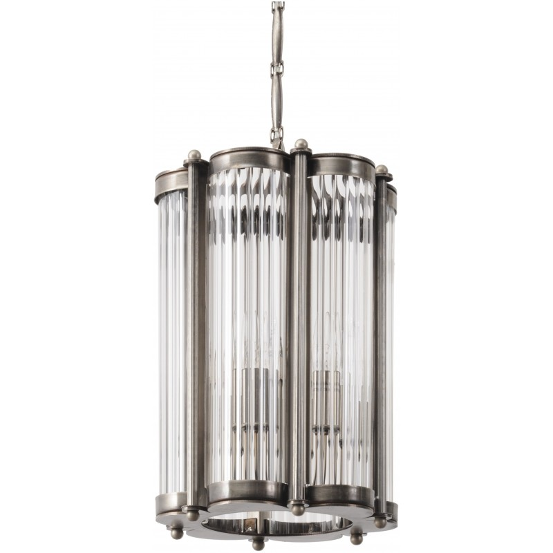 Six Sided Ribbed Glass Chandelier