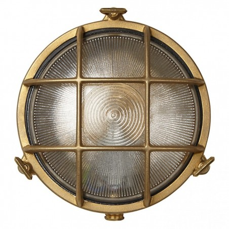 Brass Round Outdoor Wall Light
