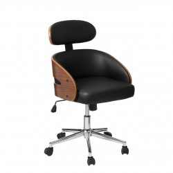 Office Chair in Bentwood and Leather Effect