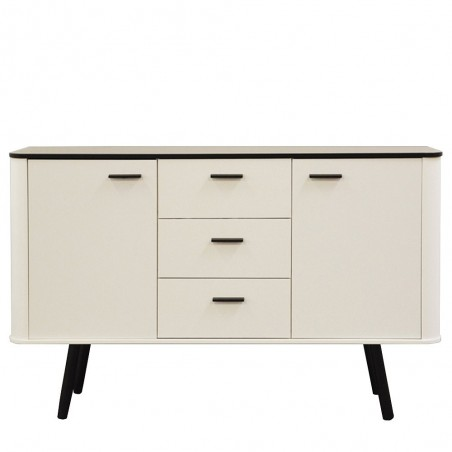 Forelsket White Sideboard - Black Oak Legs