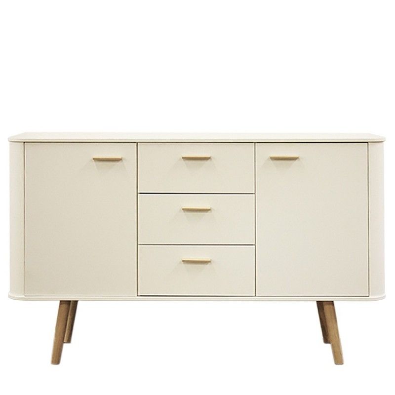 Forelsket White Sideboard - Natural Oak Legs