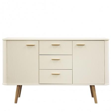 Forelsket White Display Cabinet - Black Oak Legs