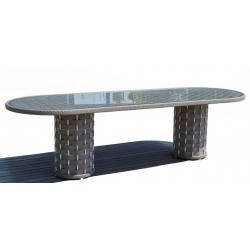 Skyline Design Strips Oval 8 Seat Dining Table